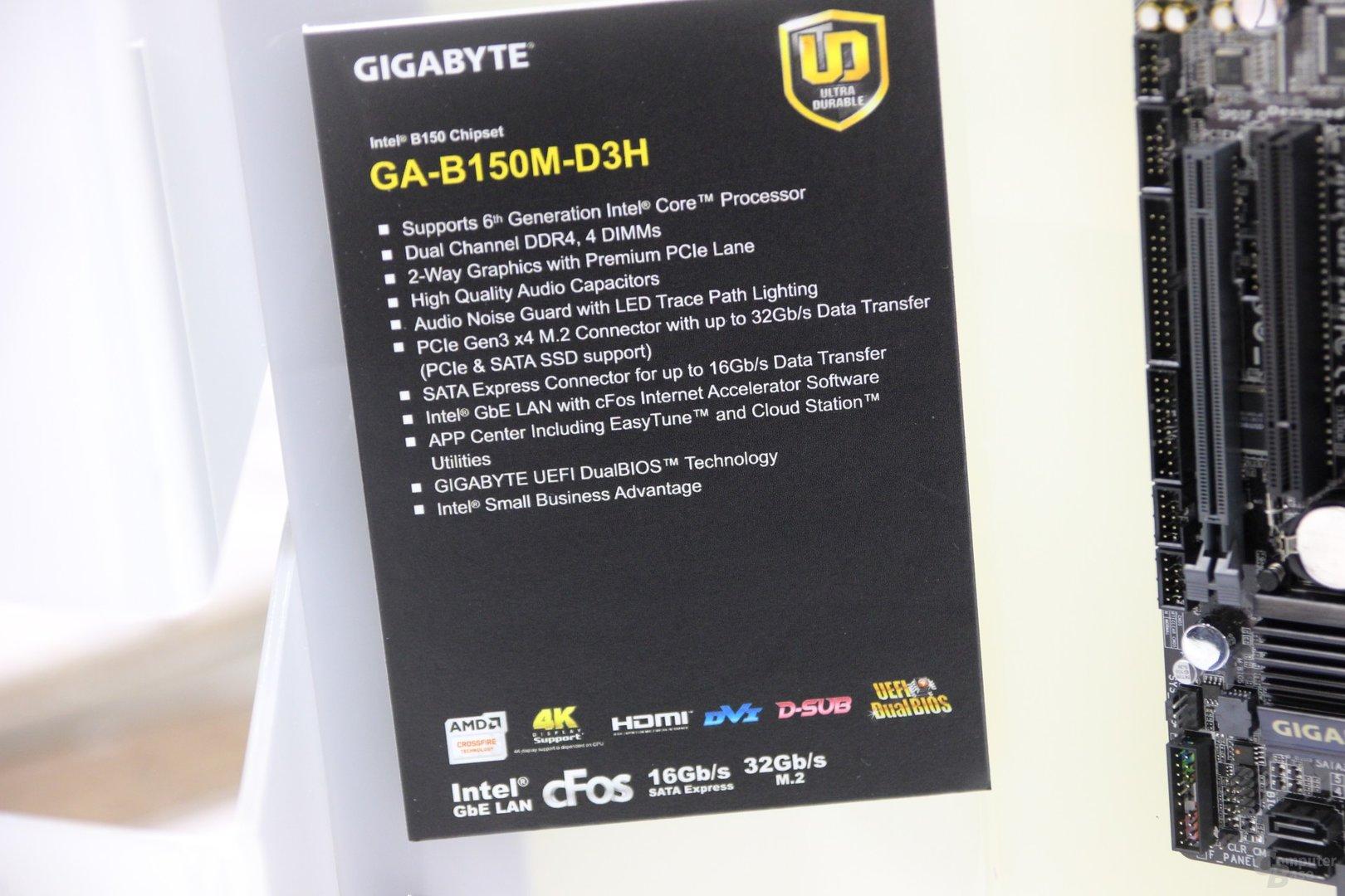 Spezifikationen des Gigabyte GA-B150M-D3H