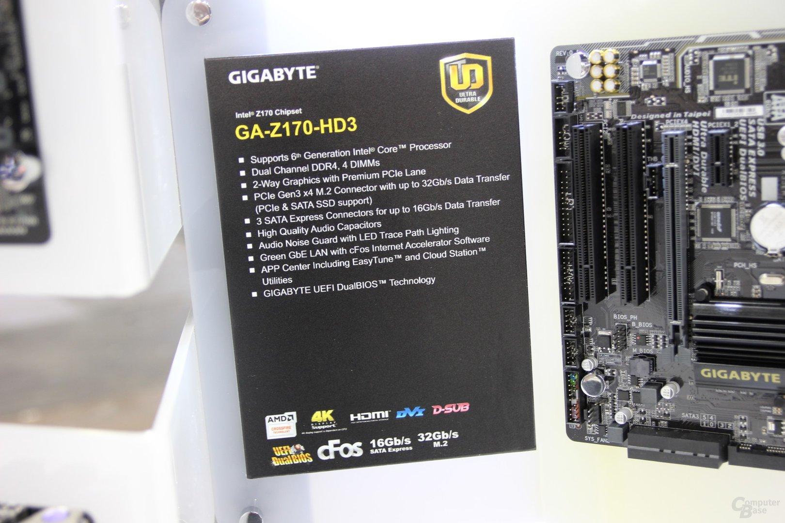 Spezifikationen des Gigabyte GA-Z170-HD3