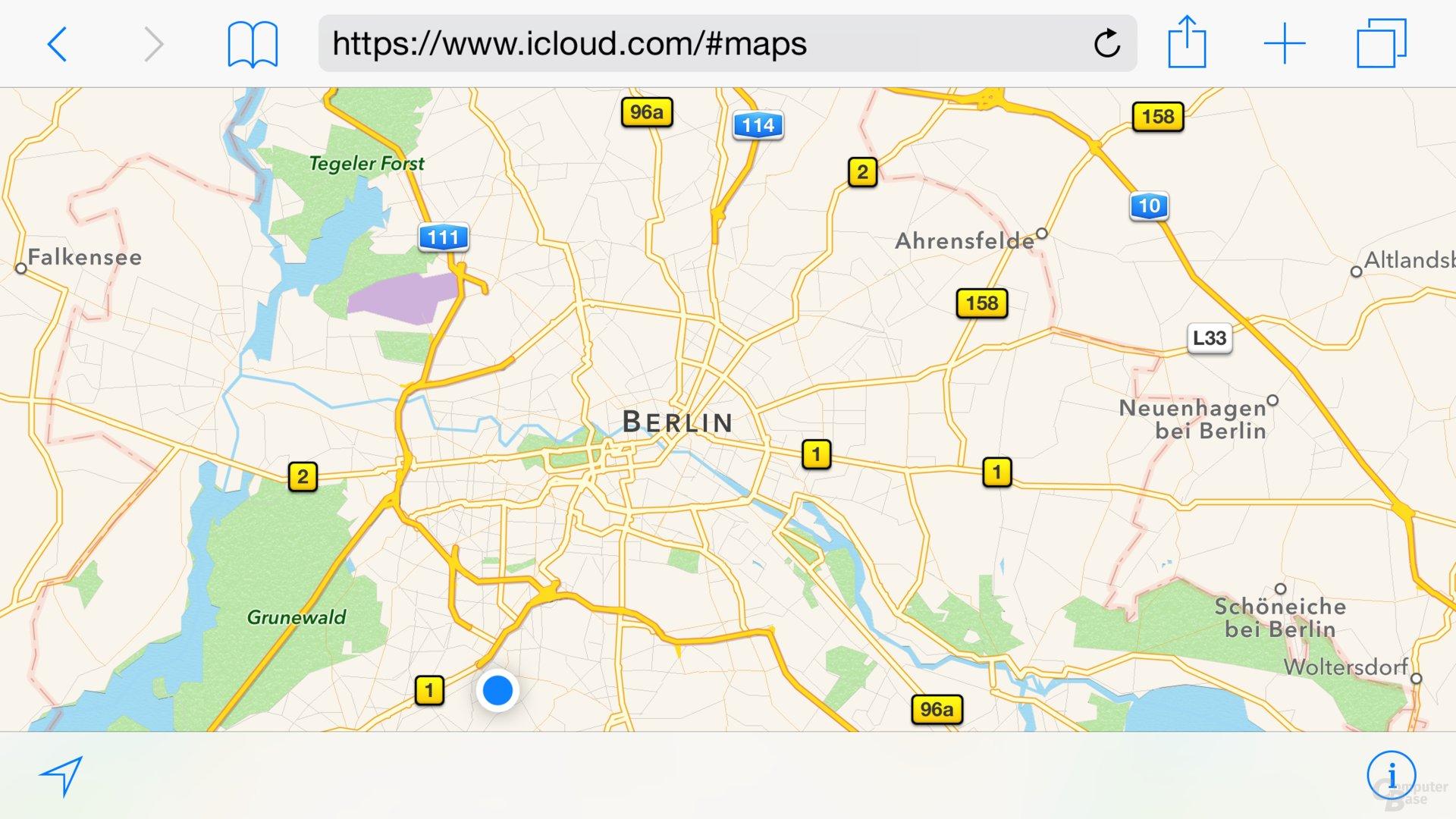 Apple Maps im Web (Montage von ComputerBase)