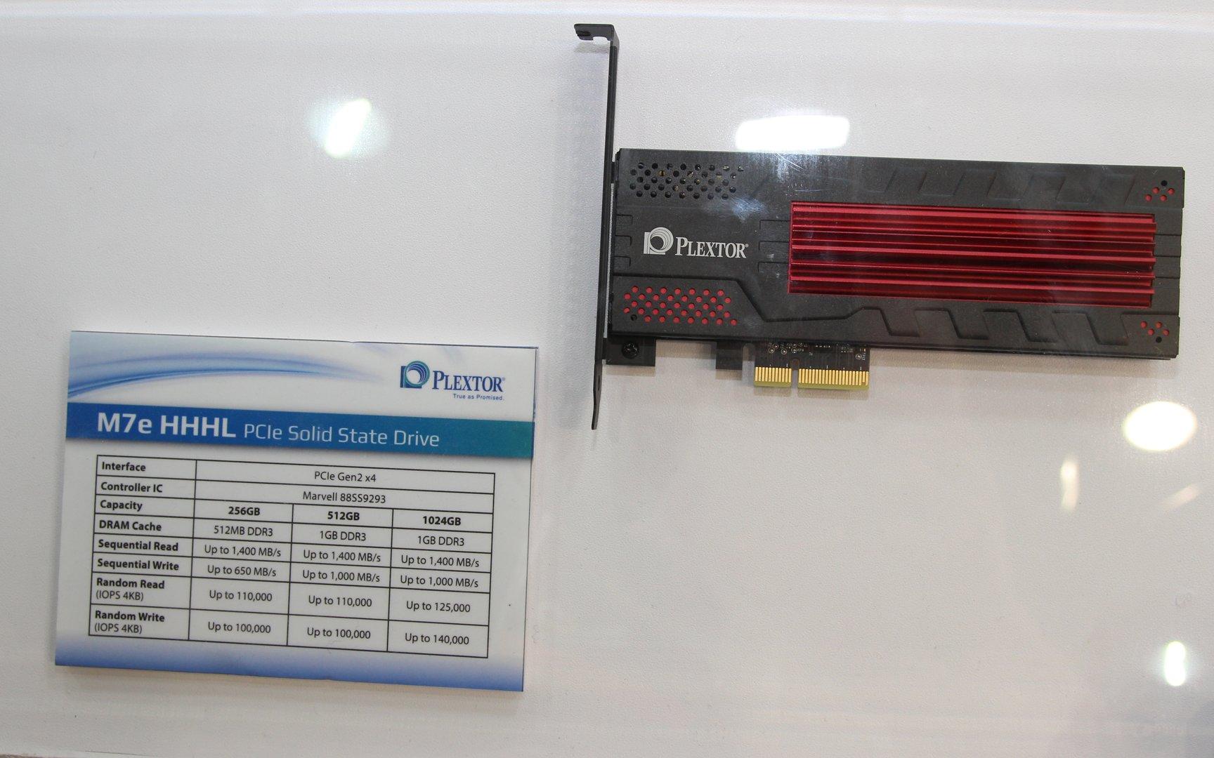 Plextor M7e als PCIe-Karte mit Kühler