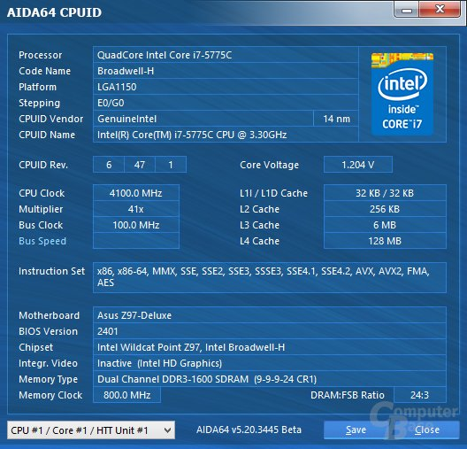 Intel Core i7-5775C mit Standardspannung bei 4,1 GHz