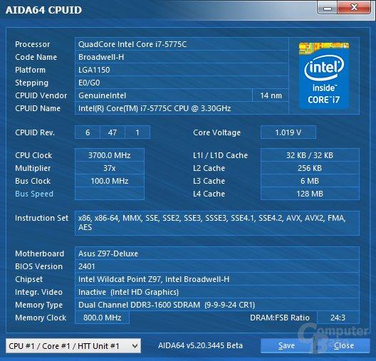 Intel Core i7-5775C mit 0,15 Volt geringerer Spannung