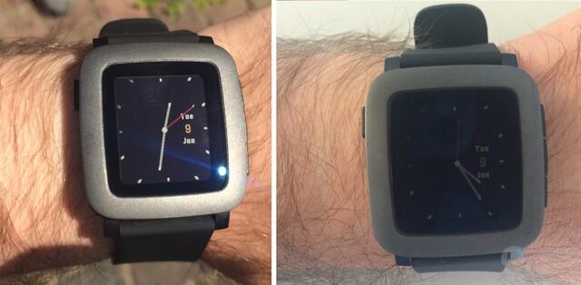 Pebble Time – Ablesbarkeit im Freien (links) und Drinnen (rechts)