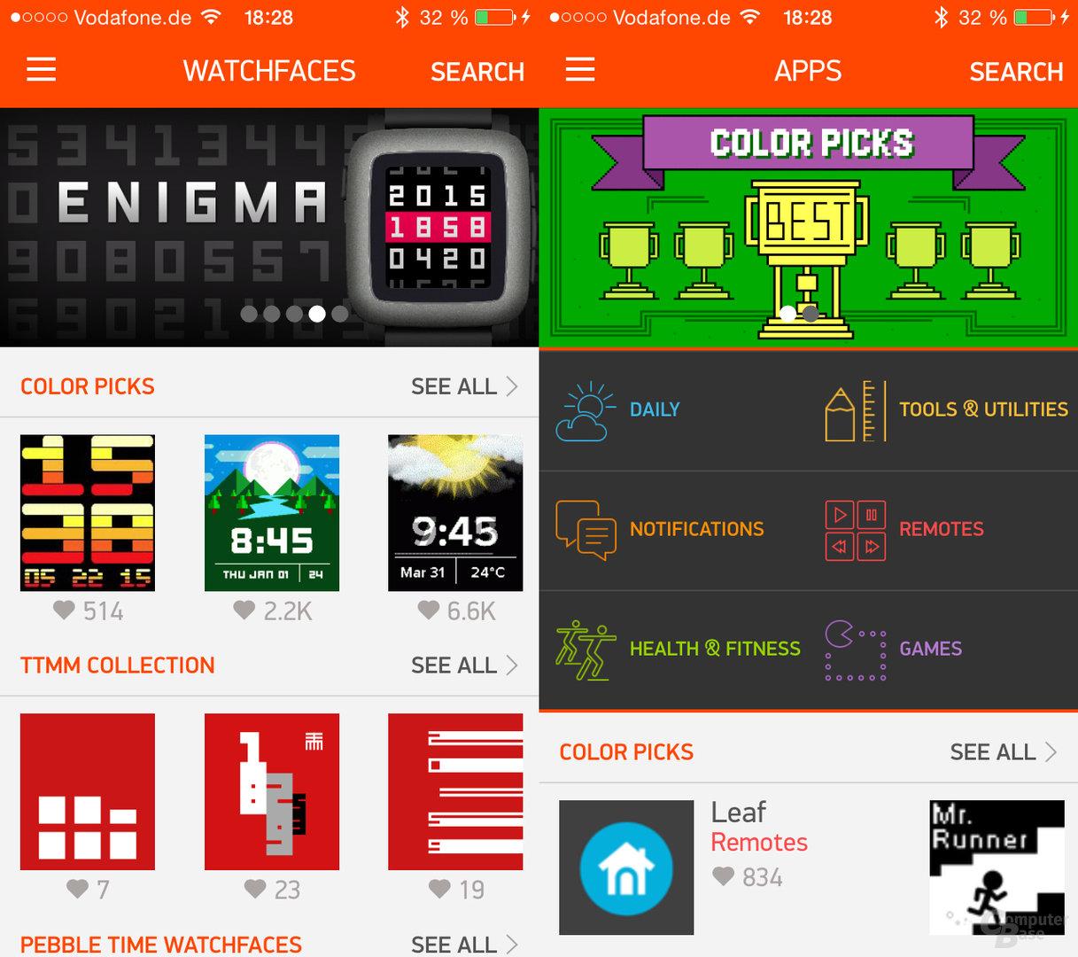 Pebble Time Watchfaces- und App-Store