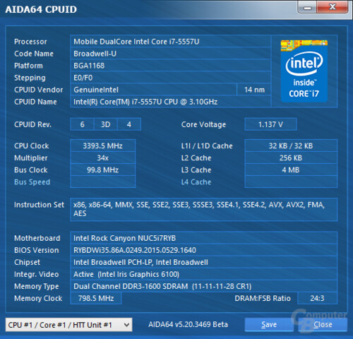 Intel Core i7-5557U im maximalen Turbo-Takt