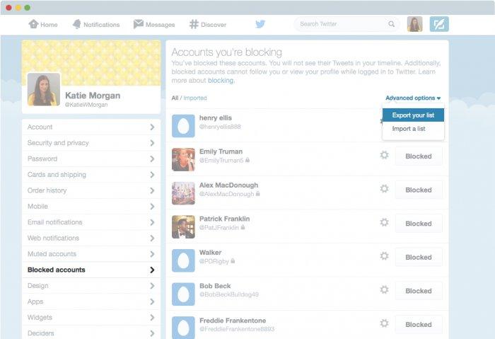 Export blockierter Nutzer auf Twitter