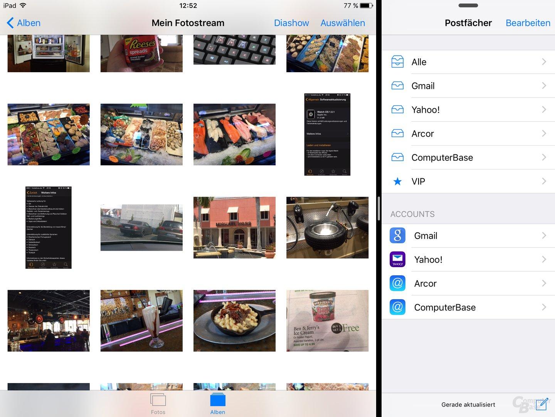 Nach dem Antippen sind beide Apps parallel inklusive Multi-Touch nutzbar