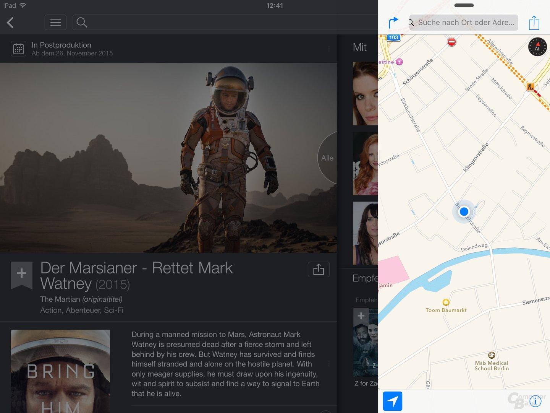 Slide Over mit IMDb und Apple Maps