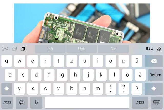 Neue QuickType-Tastatur mit zusätzlichen Schaltflächen