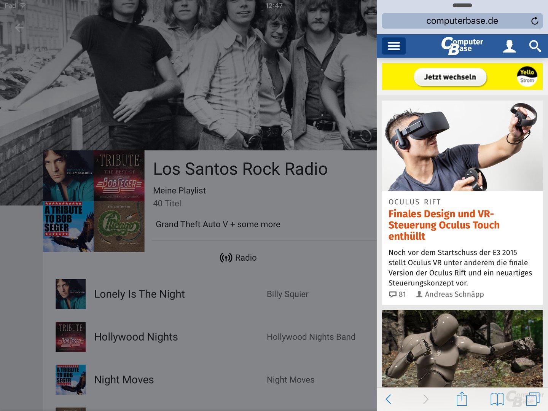 Slide Over mit Google Play Musik als Hauptanwendung und Safari im Seitenstreifen