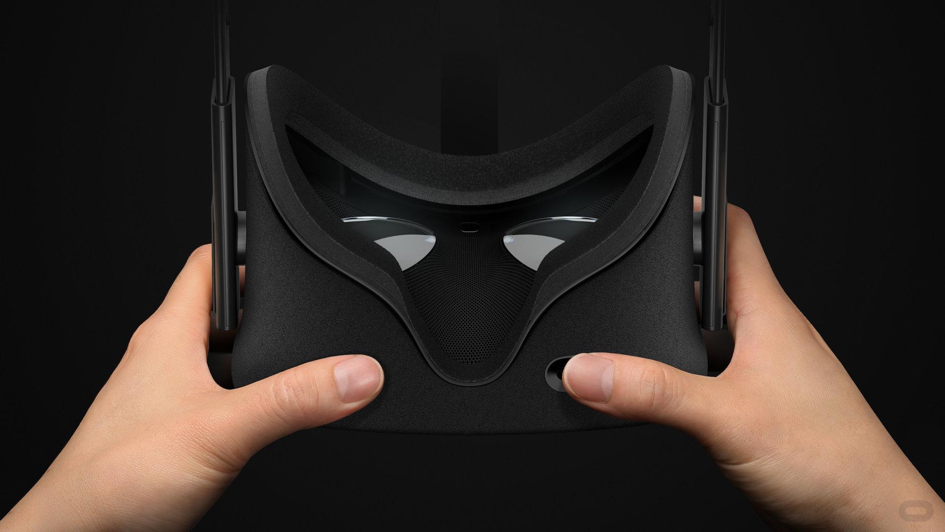 Oculus Rift – Ansicht von unten mit Drehregler für Augenabstand
