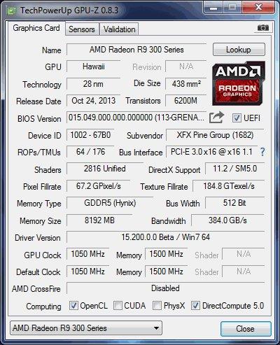 GPU-Z-Screenshot der Radeon R9 390X