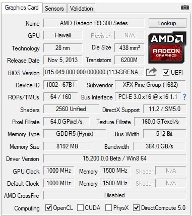 GPU-Z-Screenshot der Radeon R9 390