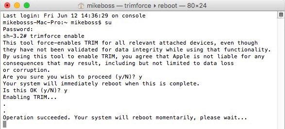 Trimforce in OS X El Capitan