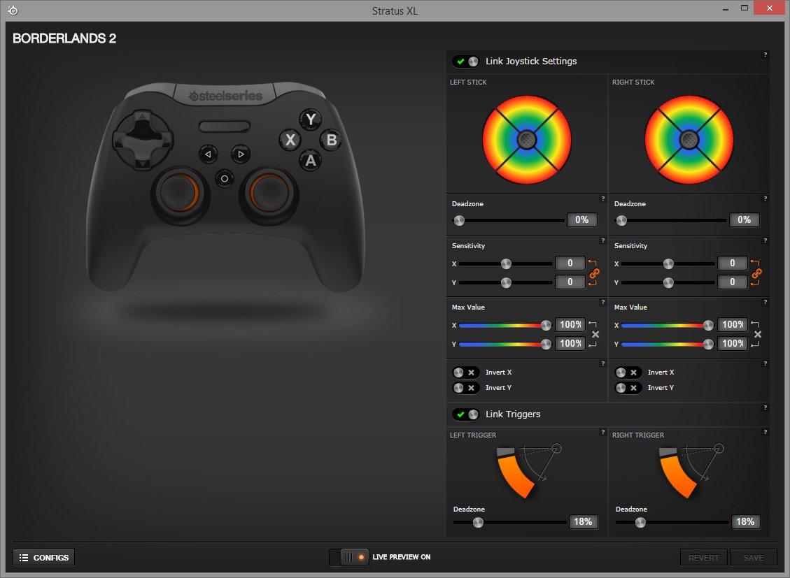 Der Game-Controller wird mit Hilfe der Steelseries Engine 3 konfigurierbar