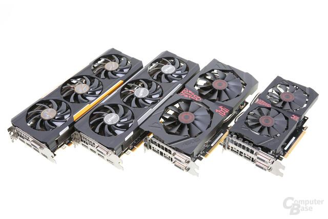 Die AMD Radeon 300 Serie: R9 390X, R9 390, R9 380 und R7 370 (v.l.n.r)