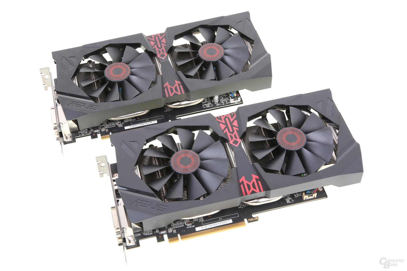 Asus Radeon R9 380 Strix (unten) und Asus Radeon R9 285 Strix (oben)