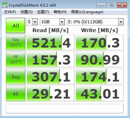 Zotac Speed 120 SSD im CrystalDiskMark