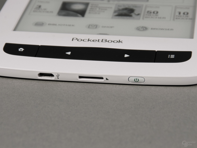 USB-Anschluss, SD-Kartenslot und Ein-/Ausschalter beim PocketBook Touch Lux 3