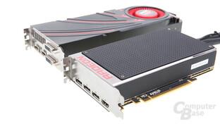 AMD Radeon R9 Fury X (unten) und AMD Radeon R9 290X (oben)