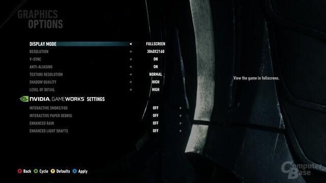 In den Grafikeinstellungen der aktuellen Version des Spiels finden sich noch keine neuen Optionen