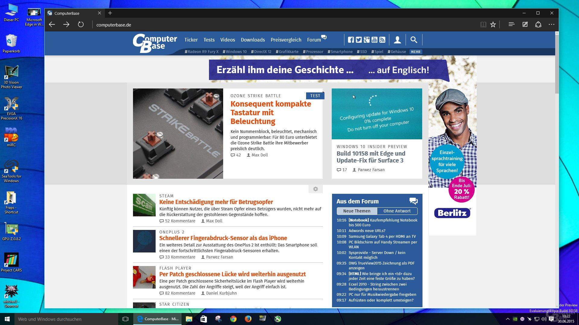 Microsoft Edge mit dunklem Theme in Windows 10 Build 10158