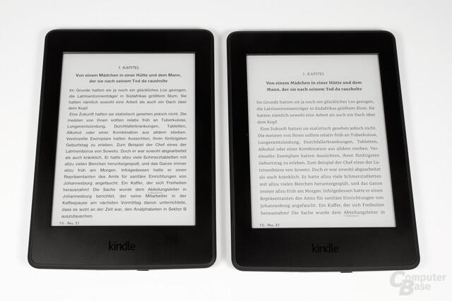Schriftsatzvergleich Paperwhite 2015 (links alt, rechts neu)