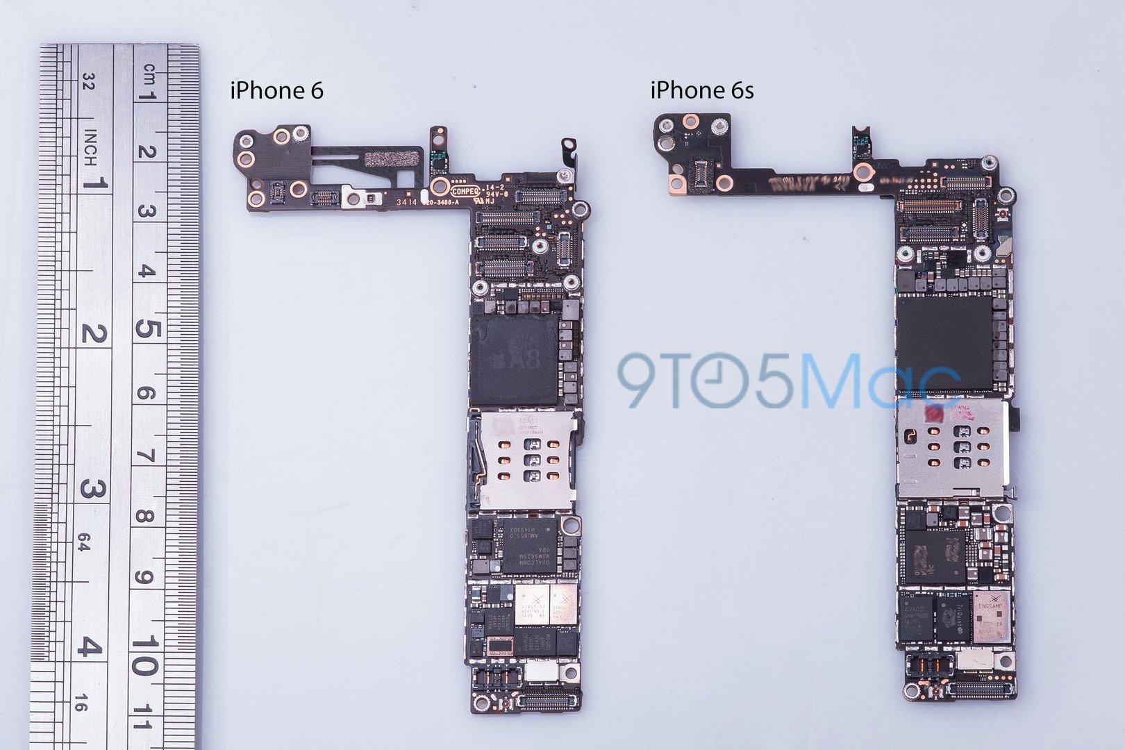 Hauptplatinen: iPhone 6 (links) und iPhone 6s (rechts)