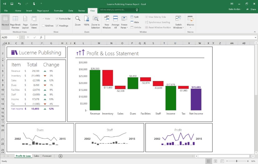 Office 2016 Preview – Neue Diagramm-Typen (Waterfall)