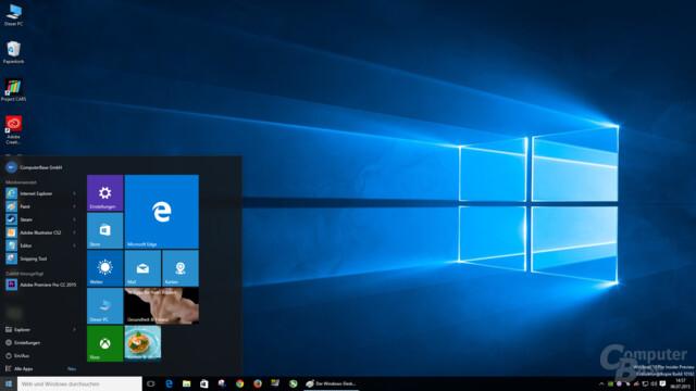Der Windows-Desktop mit dem neuen Hero Image und dem Startmenü