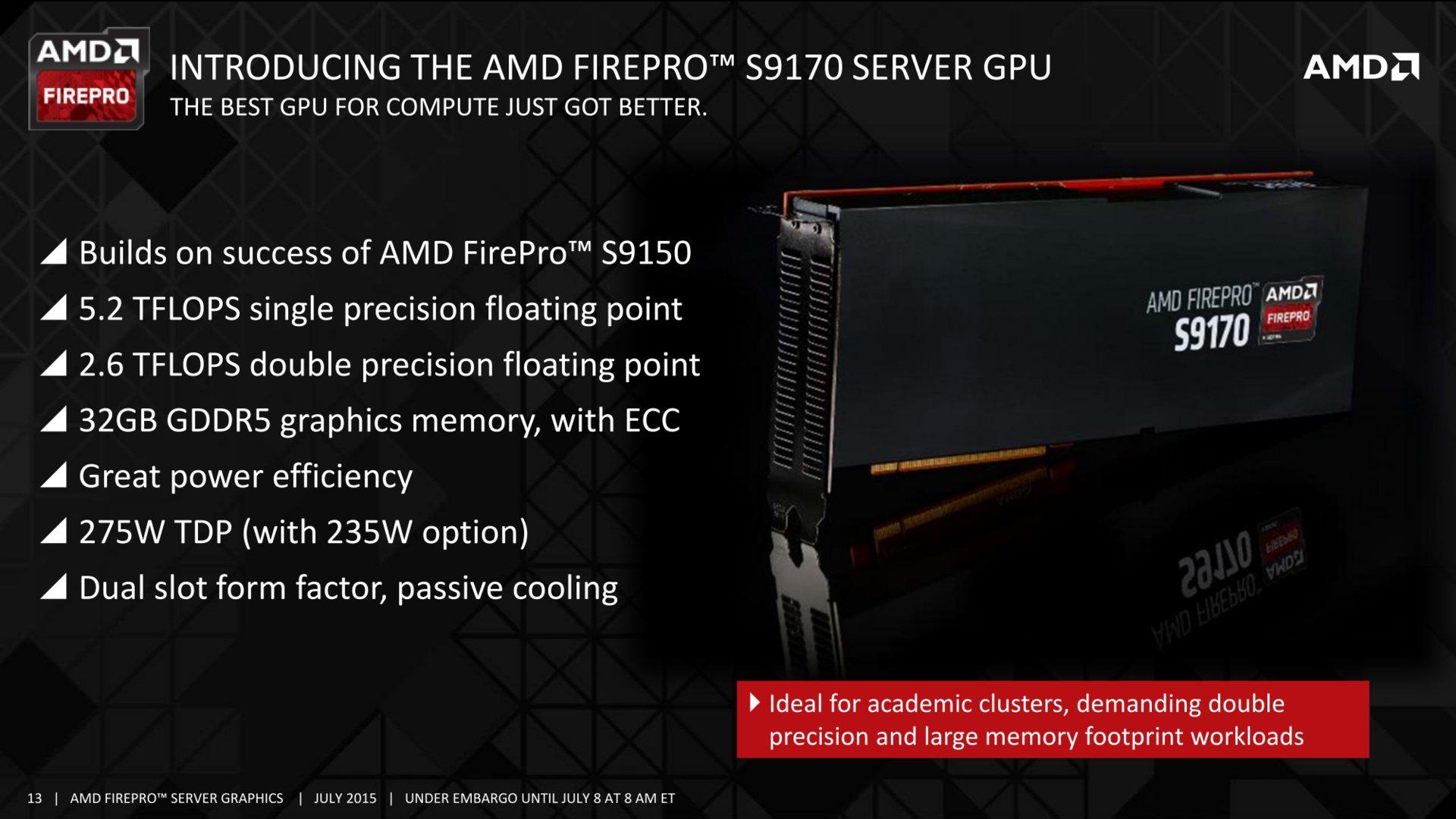 AMD FirePro S9170 als neues Server-Flaggschiff