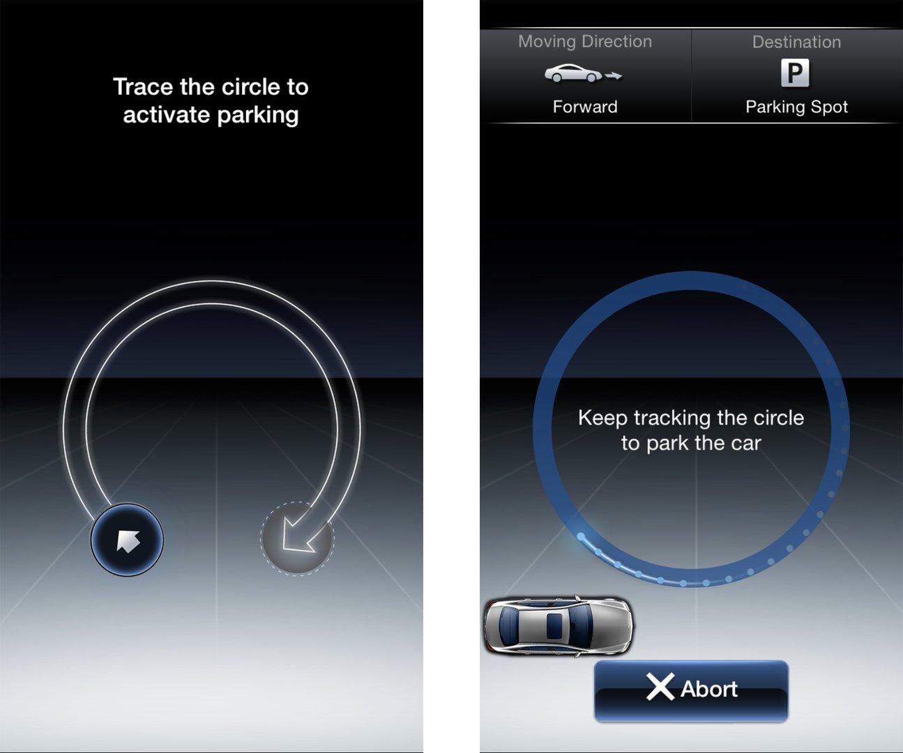 Ring folgen für Aktivierung / Kreisbewegung fürs Parken