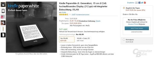 Kindle Paperwhite 2014 für 79,99 Euro beim heutigen Amazon Prime Day