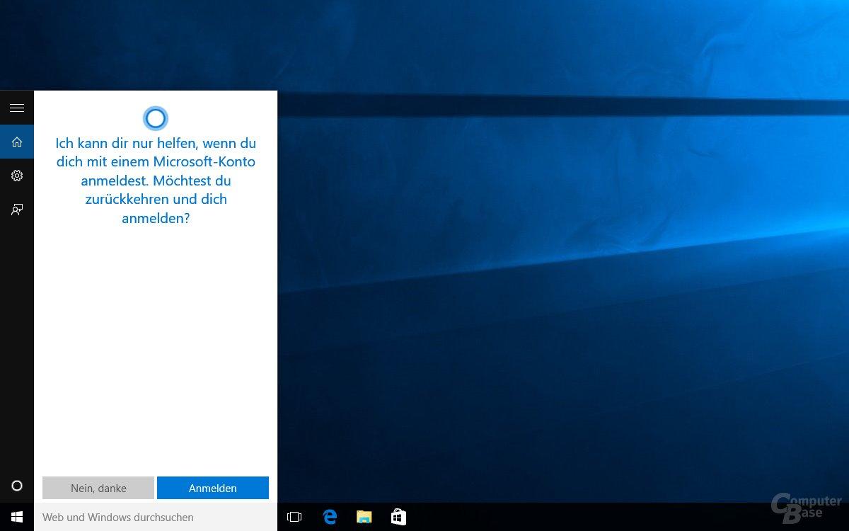 Ohne Microsoft-Account funktioniert Cortana nicht