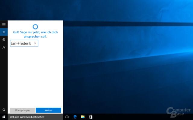 Cortana fragt nach dem Namen des Anwenders