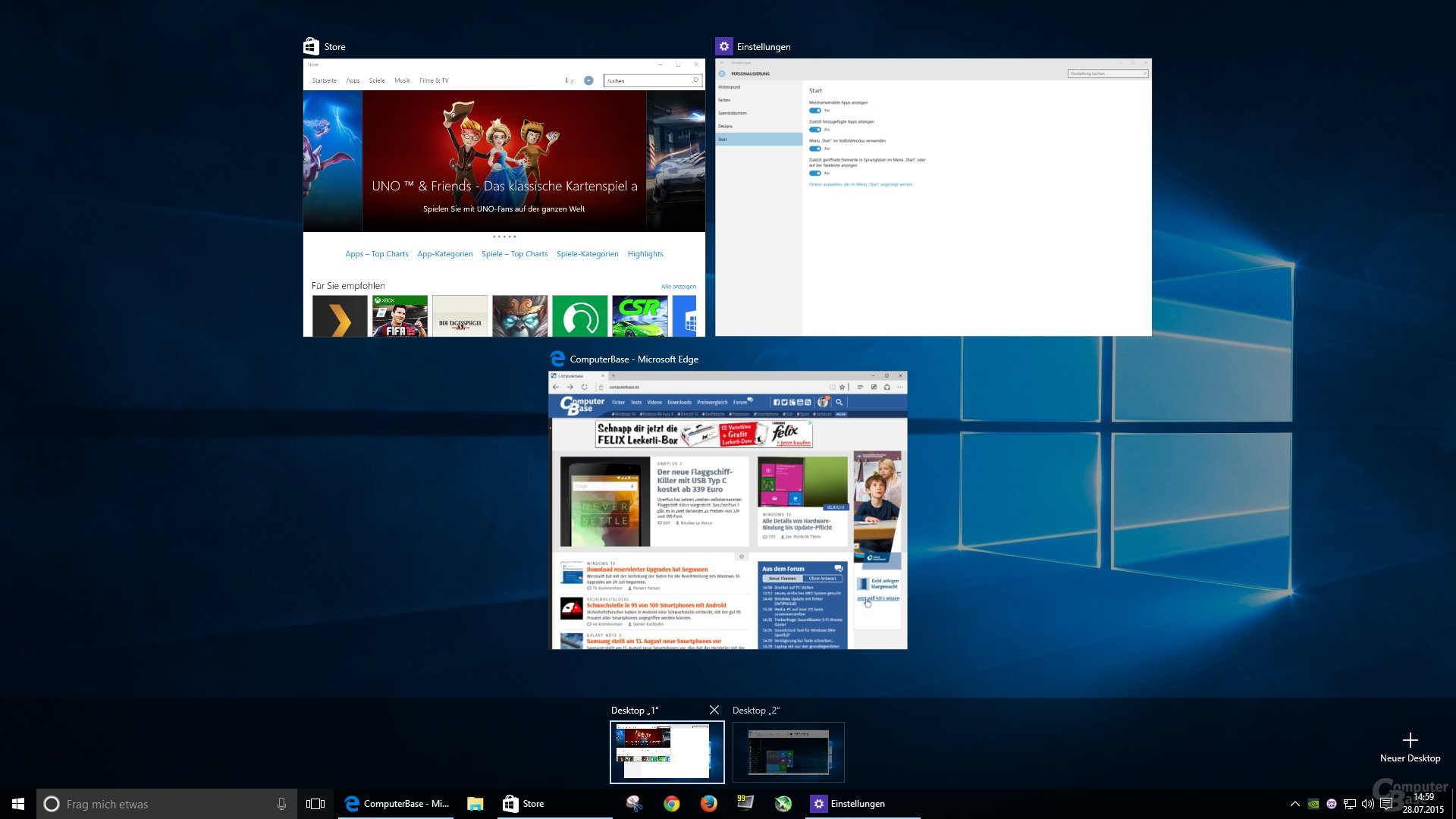 Zwei virtuelle Desktops mit einmal drei und einmal einem Fenster