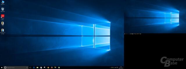 Windows 10 mit 100 Prozent Skalierung auf Full HD und 200 Prozent auf Ultra HD