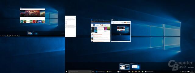 Im Multi-Monitor-Betrieb lassen sich Fenster in der Taskansicht nicht zwischen Monitoren verschieben