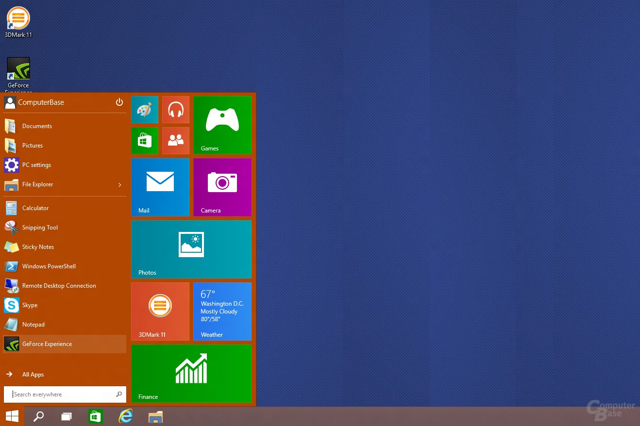 Frühes Startmenü in Windows 10 Build 9834