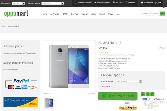 Huawei Honor 7 gelistet bei oppomart