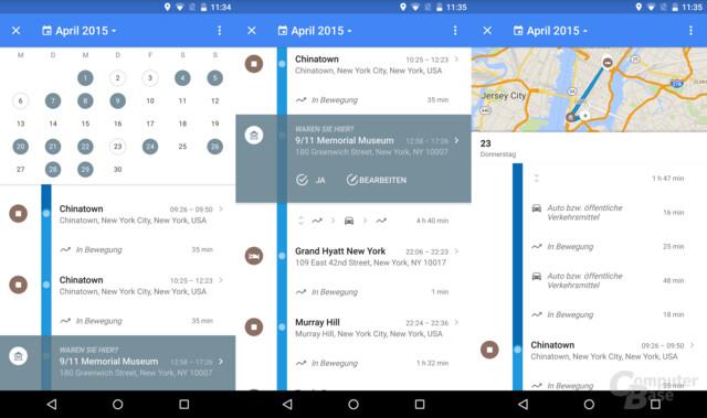 Kalender und gesammelte Daten im Überblick
