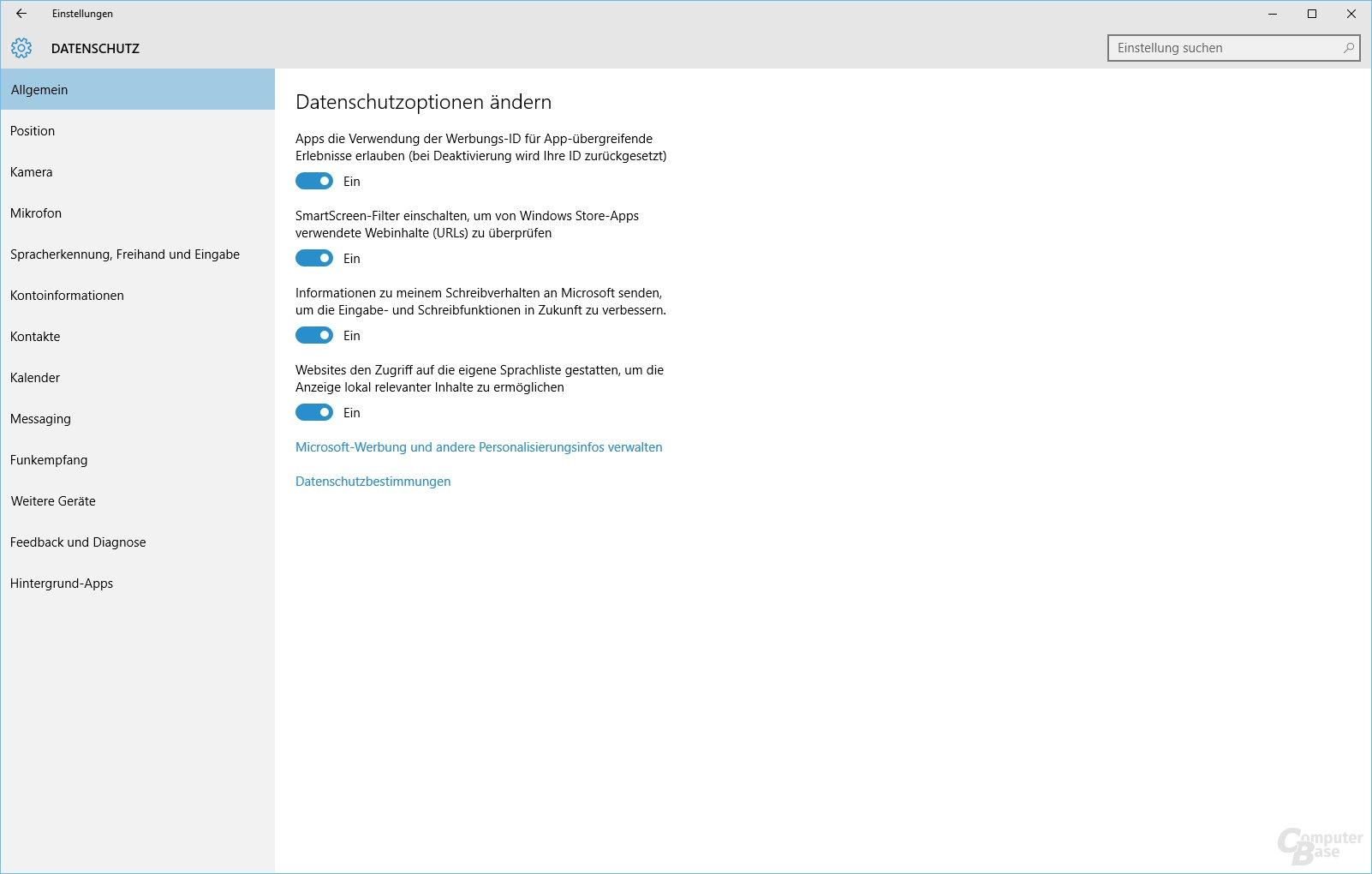 Datenschutzoptionen von Windows 10