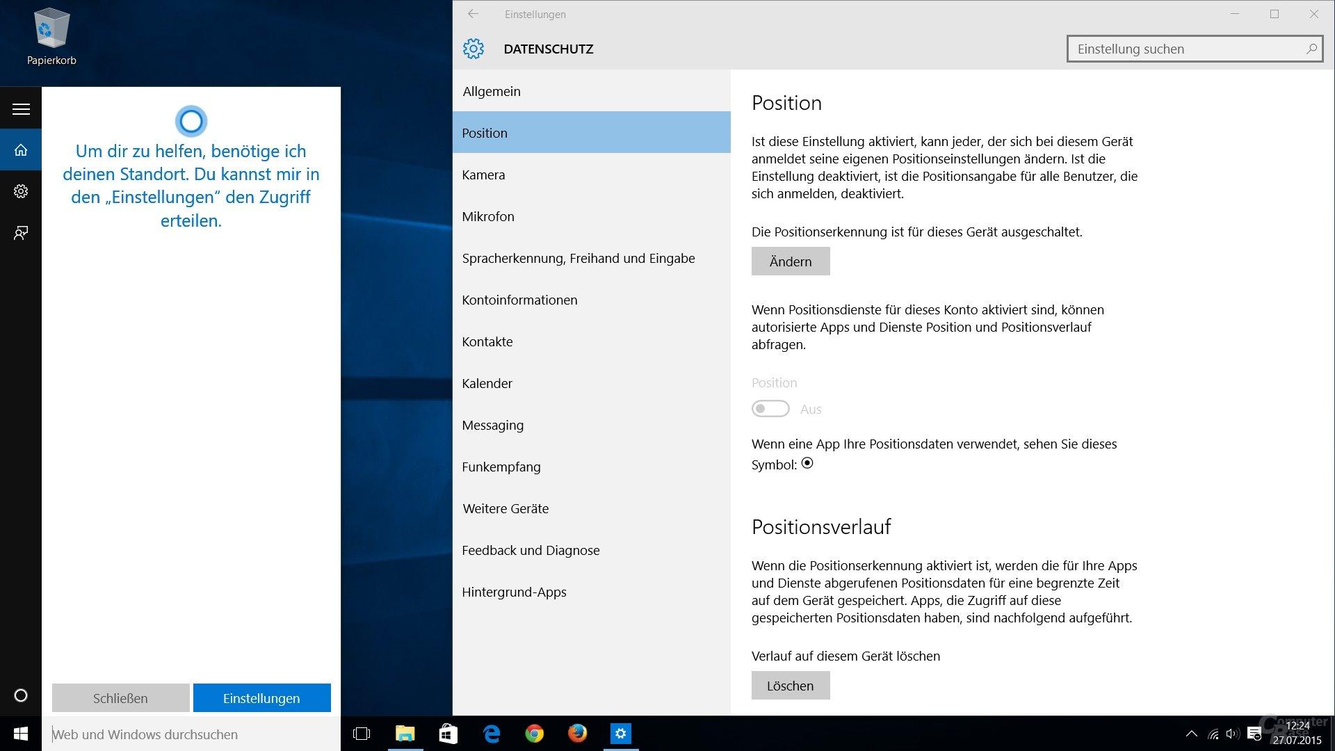 Cortana läuft nicht ohne Ortungsdienst