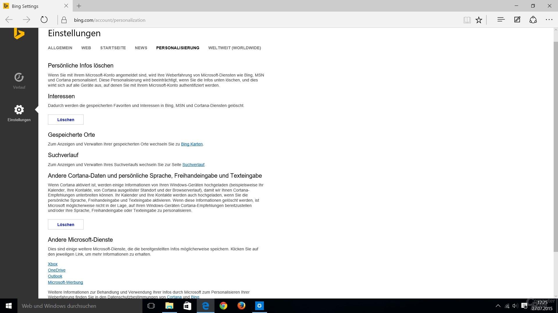 Personalisierung bei Bing