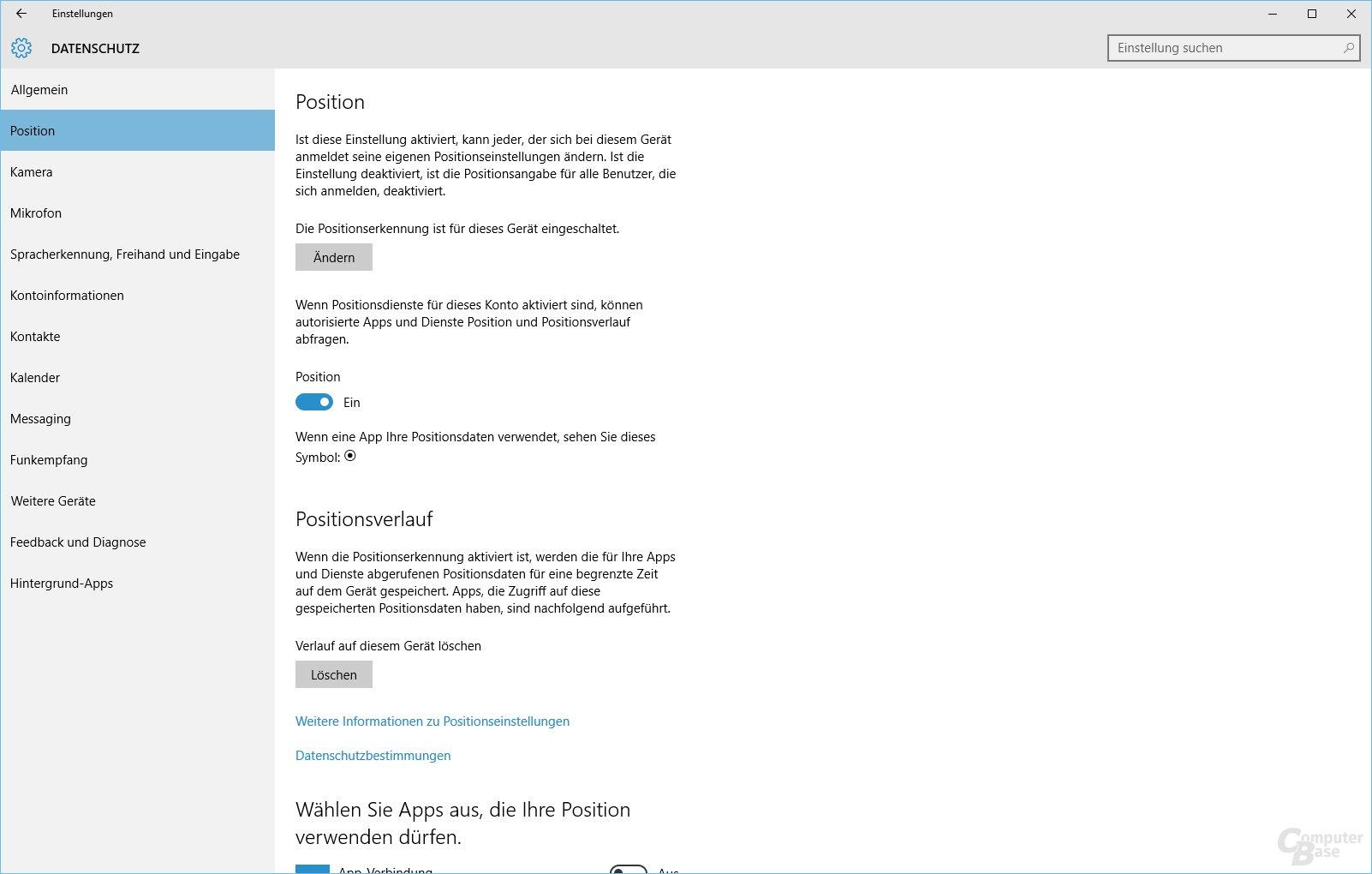 Datenschutz bei Windows 10: Ortungsdienst