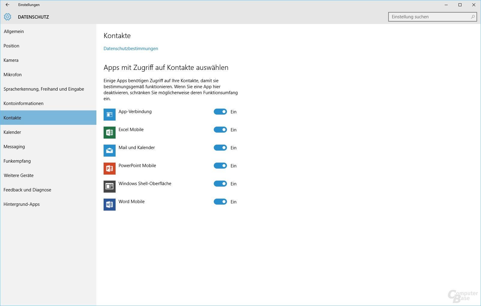 Datenschutz bei Windows 10: Kontakte