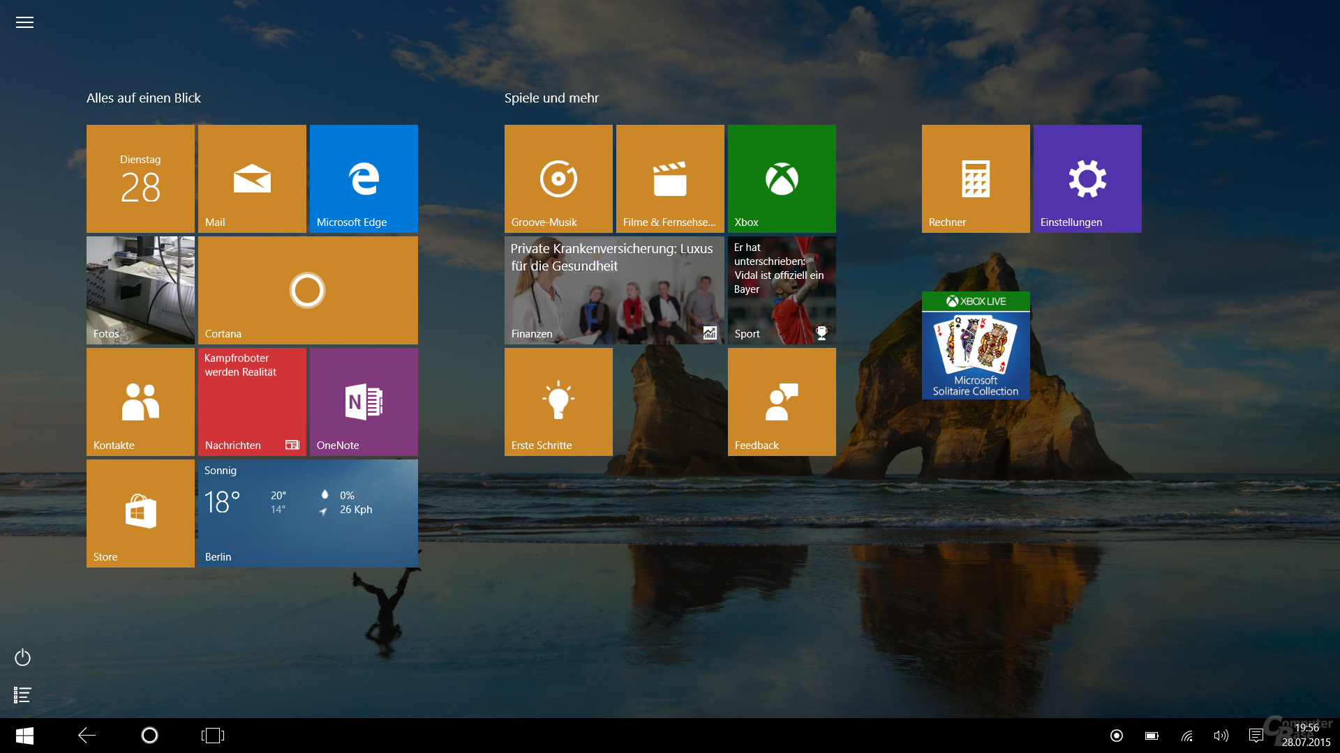 Der Tablet-Modus in Windows 10 gibt einen Vorgeschmack