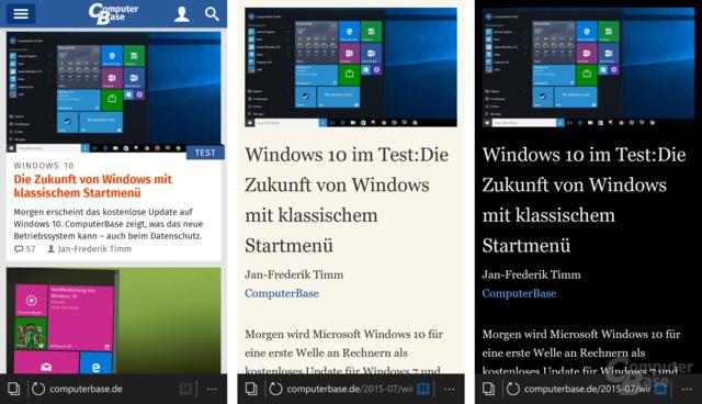 Microsoft Edge mit Lesemodus (Standard/dunkel)