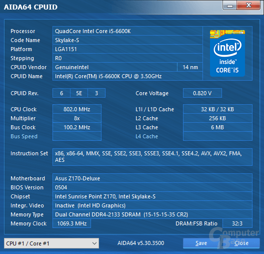 Intel Core i5-6600K im Leerlauf