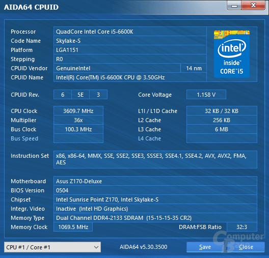 Intel Core i5-6600K mit Last auf allen Kernen